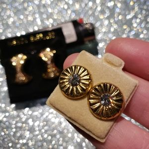 Brand new 2 pairs earrings gold shinny